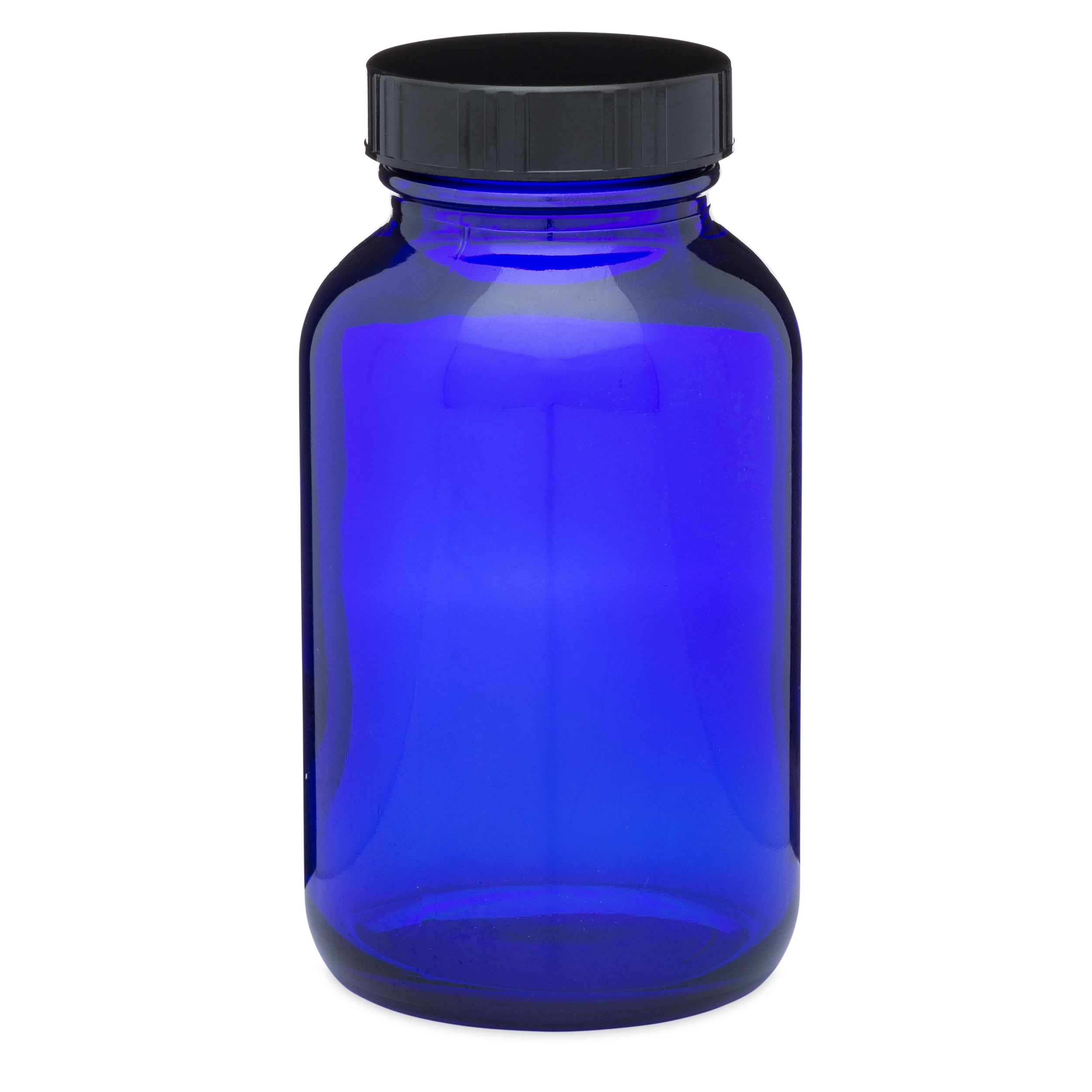 Blue Packer Bottle with Black Cap