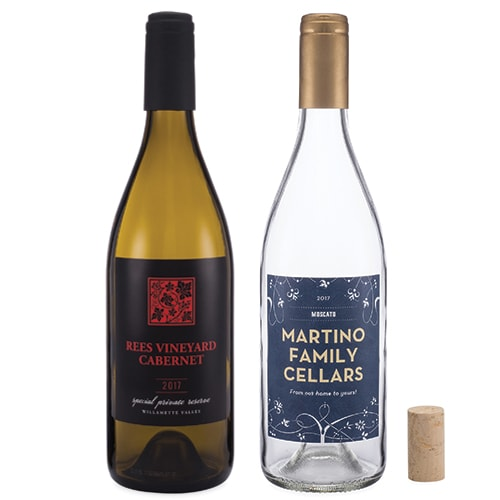 Green Wine Bottle and Clear Wine Bottle with Cork
