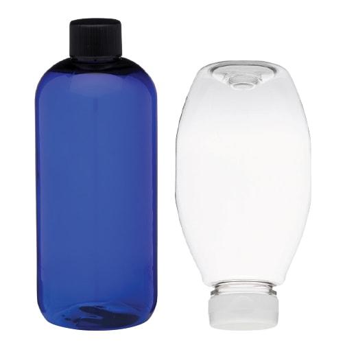 Blue Plastic Bottle and Inverted Clear Plastic Bottle