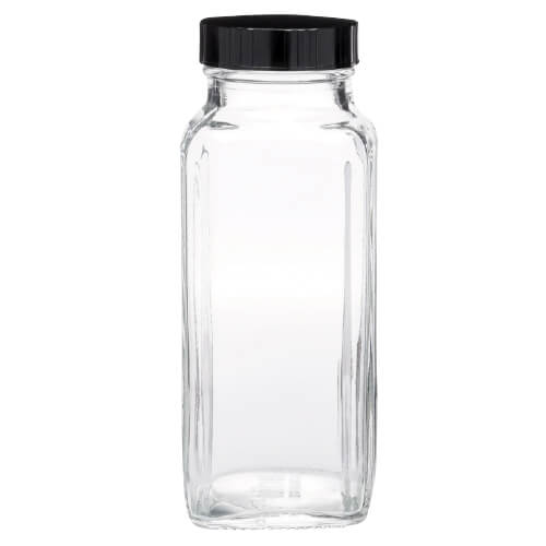 Clear Glass French Square Bottle