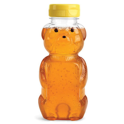 Honey Bear Bottle with Yellow Plastic Flip Top Cap - Filled with Honey
